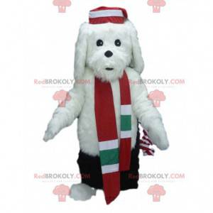 White dog mascot in winter outfit, winter costume -
