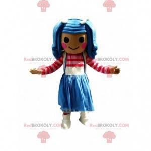 Barevná dívka maskot, velmi barevný kostým dívka -