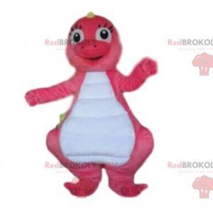 Růžový a bílý maskot dinosaura, kostým růžového draka -