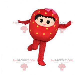 Maskot červená jahoda, obří jahodový kostým, červené ovoce -