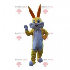 Mascota de conejo amarillo y blanco, disfraz de Bugs Bunny -