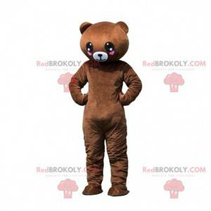 Brown teddy mascot with hearts, romantic costume -