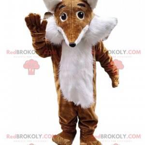Brązowy i biały lis maskotka, włochaty, kostium lisa -
