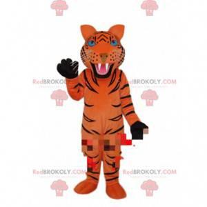 Orange tiger mascot with black stripes, tiger costume -