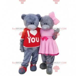 2 maskoti šedého medvídka, kostýmy medvěda, pár medvídků -