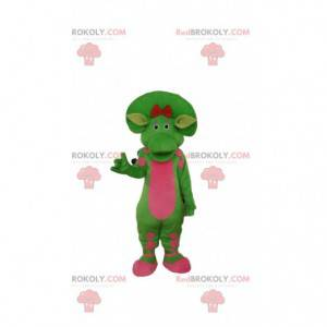 Green and pink dinosaur mascot, prehistoric costume -