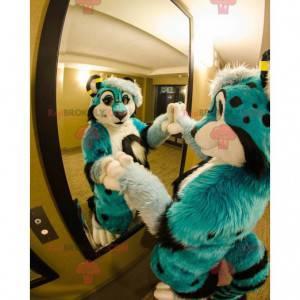 Blue white and black dog mascot - Redbrokoly.com