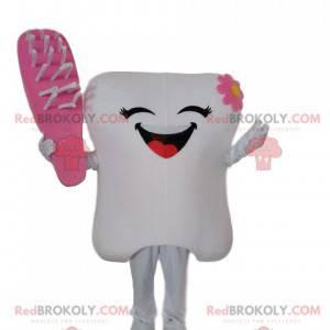 Maskot bílý zub s růžovým kartáčkem, kostým zubu -