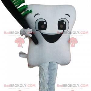 Maskot bílý zub s kartáček na zuby, obří zub - Redbrokoly.com