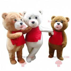 3 maskoti medvědů, kostýmy plyšových medvídků, 3 medvídci -