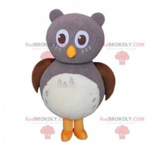 Giant gray and white owl mascot, owl costume - Redbrokoly.com