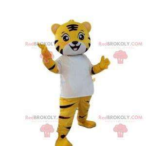 Žlutý, bílý a černý tygr maskot, kočičí kostým - Redbrokoly.com