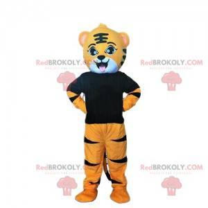 Oranžový, bílý a černý tygr maskot, kočičí kostým -