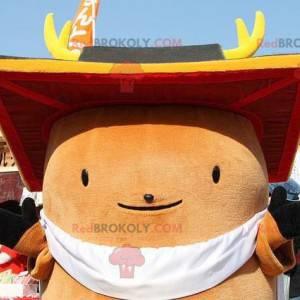 Maskotka duży okrągły brązowy mężczyzna - Redbrokoly.com