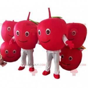 2 maskoter med røde kirsebær, 2 røde frukter, røde epler -