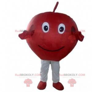 Maskot červené jablko, kostým červené třešně, obří ovoce -