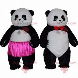 2 Panda-Maskottchen, Panda-Kostüme, asiatische Tiere -