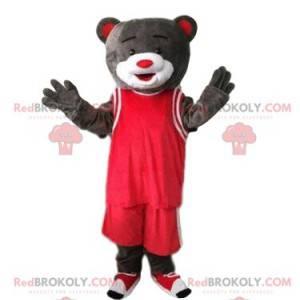Šedý medvěd maskot v červené sportovní oblečení, sportovní