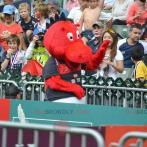 Červený a černý drak maskot dinosaura - Redbrokoly.com