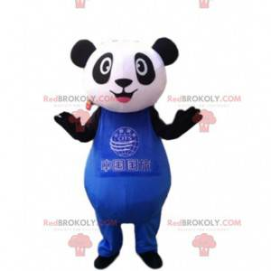 Black and white panda mascot in blue outfit, bear costume -