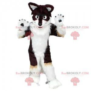 Husky Hundemaskottchen, schwarz und weiß, pelziges Fuchs Kostüm