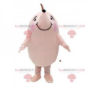 White and pink hedgehog mascot, hedgehog costume -