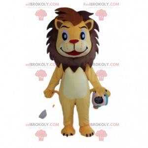 Maskot docela žlutý a hnědý lev, kočičí kostým - Redbrokoly.com