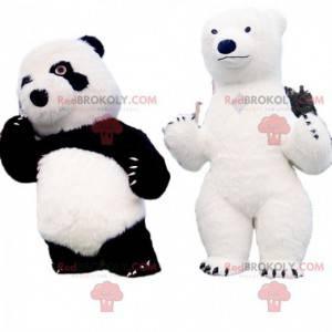 2 maskoti medvědů, panda a lední medvěd - Redbrokoly.com