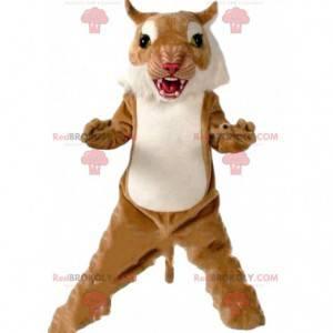 Fierce puma mascot, tiger costume, feline disguise -