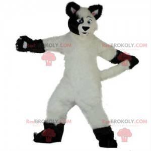 Maskot bílý a černý pes, měkký a chlupatý, kostým lišky -