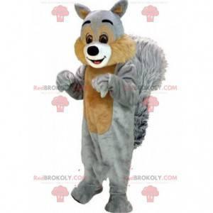 Grå ekorn maskot, skog kostyme, gigantisk gnager -
