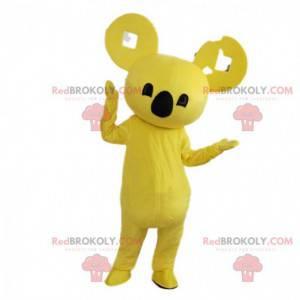 Mascote coala amarelo, traje exótico, animal asiático -