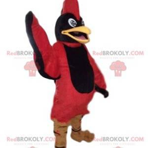 Schwarzes und rotes Vogelmaskottchen, Adlerkostüm, roter Adler