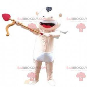 Cupido mascotte, engel kostuum, baby met een strik -