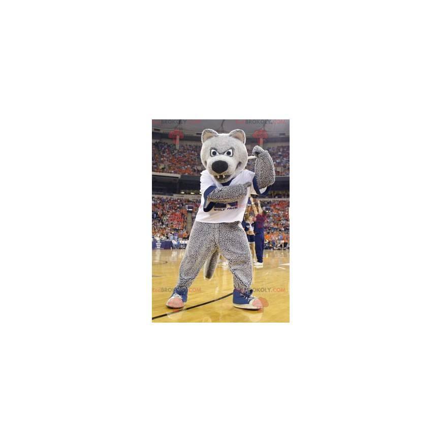 Gray bear mascot in sportswear - Redbrokoly.com