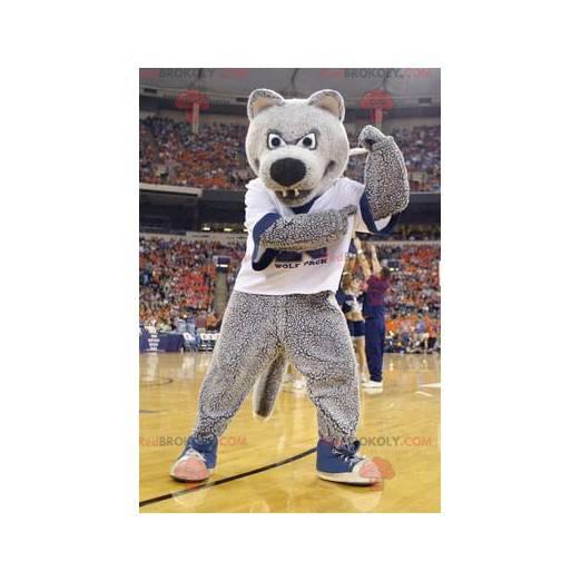 Šedý medvěd maskot ve sportovním oblečení - Redbrokoly.com