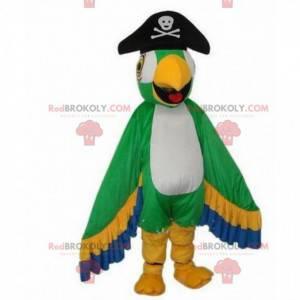 Fargerik papegøyemaskot, piratfugldrakt - Redbrokoly.com