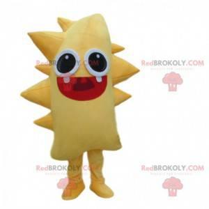 Yellow monster mascot, yellow creature costume, yellow monster