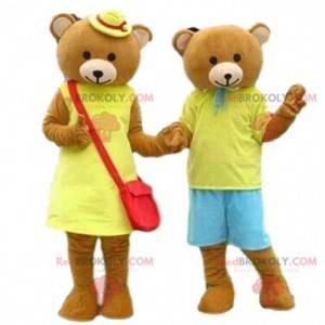 Teddy bear mascots, teddy bear costumes, mascot couple -