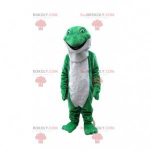 Grønn og hvit froskmaskot, padde kostyme - Redbrokoly.com