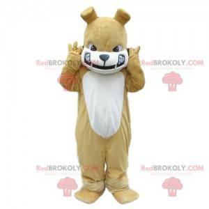 Beige und weiße Bulldogge Maskottchen, böses Hundekostüm -
