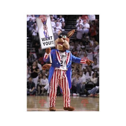 Brown dog mascot in American dress - Redbrokoly.com