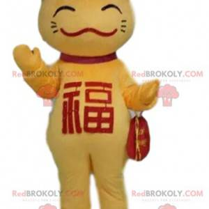 Gul og rød kattemaskot, asiatisk drakt, kinesisk katt -