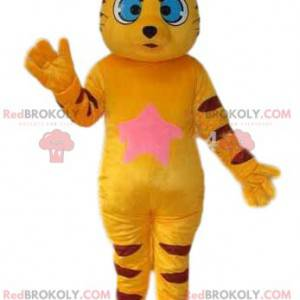 Maskot žlutá kočka s velkýma modrýma očima. Kočičí kostým -