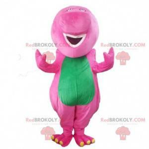 Růžový a zelený dinosaurus maskot, barevný kostým draka -