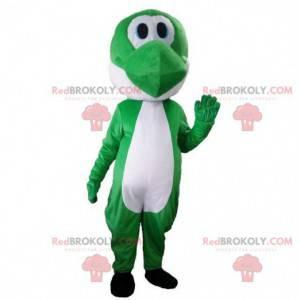 Zelený a bílý dinosaurus maskot, roztomilý drak kostým -