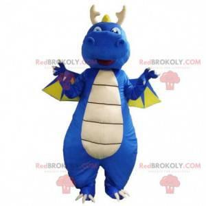 Blue dinosaur mascot, dragon costume, blue creature -