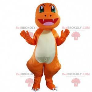 Maskot draka, kostým dinosaura, oranžový převlek -