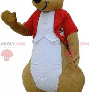 Kangaroo mascot in red costume, elegant costume - Redbrokoly.com