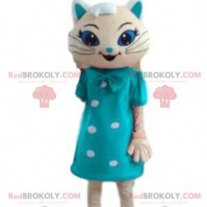Weißes Katzenmaskottchen mit einem blauen Kleid, festliches